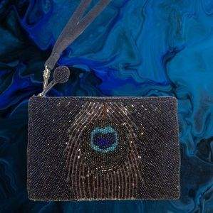 Indeed Beaded Peacock Feather Change Purse Bag